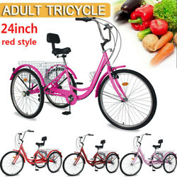 Tricycles 7speed Trikes 24 Wheeler 3wheel Red Bike +backrest And Basket For Adult