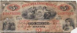 1860 Augusta Insurance And Banking Co Georgia Obsolete Money 5 Dollar Bank Note