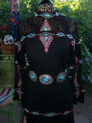 Nwt182beauty Western Embroidered Boho Bell Lace Blouselvintage Collection