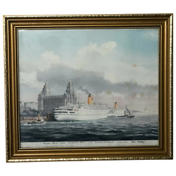 Watercolour Painting Rms Empress Of England And Britain Liner Ships Liverpool Port