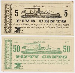 1863 David Michener 5 Cent And 50 Cent Steamboat Obsolete Currency Bristol Pa 2