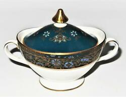 Royal Doulton Carlyle Blue Flowers Gold Teal Band Covered Sugar Bowl