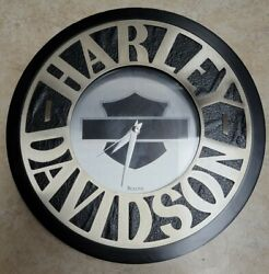 Harley Davidson Bulova Wall Clock Faux Leather Design Works AS IS