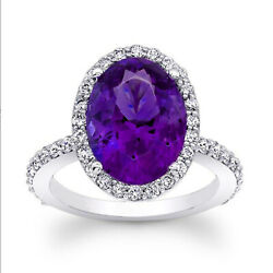 4.13 Ct Amethyst Gemstone Oval Cut 950 Platinum Engagement Ring Size Selective