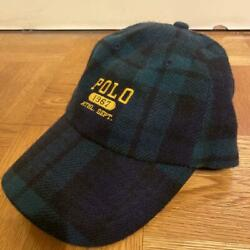 Polo Cap Hat Plaid Wool Logo 1967 Leather Men's One Size From Japan