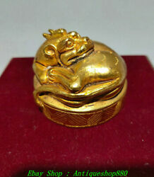Old China Zhan Han Dynasty Bronze Ware Gold Dragon Beast Seal Signet Stamp