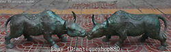 22 China Bronze Wealth Cattle Bull Ox Oxen Cow Rhinoceros Animal Statue Pair