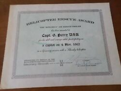 1962 Signed Autograph By Igor Sikorsky Helicopter Rescue Award Military Army