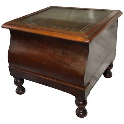 Antique Regency Early 19th Century Library Single Step Green Leather Top Stand