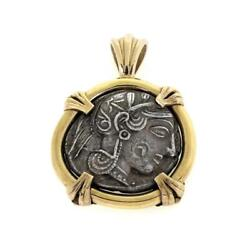 Vintage 18k Yellow Gold Silver Greek Goddess Of Wisdom And Owl Coin Pendant