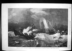 Antique Old Print South Sea Whaling Oswald Brierly Dudley Gallery Boats 1868