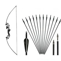 """51""""archery Recurve Bow Straight Long Bow Kit Take Down Bow 30/40lbs Outdoor"""