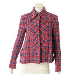 Authentic 15s Silk Tweed Jacket P51392 Red Blue Pink Size 34 Used