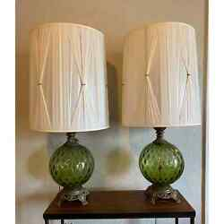 Sale Large Pair Of Mid-century Hollywood Green Glass And Cast Brass Table Lamps