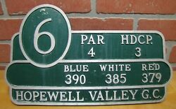 Hopewell Valley Gc Golf And Country Club Nj Hole 6 Sign Plaque Marker Par 4