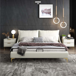 Genuine Leather Bed Modern Light Luxury Wedding Bed Master Bedroom Double Bed 1.
