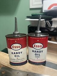 Vintage Esso Light Oil Can Handy Oiler 3 Oz Rare Tin Red White Lot 2 Variations