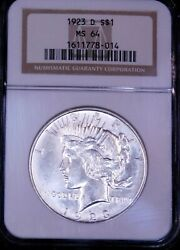 1923-d Peace Silver Dollar Ngc Ms64 Blast White Superb Frosty Luster Pq Ge684