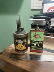 Vintage Lot Of 2 Rare Whiz 4oz Lead Top Handy Oiler Tin Oil Can R.m Hollingshead