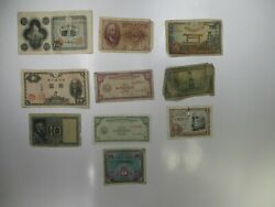Antique Lot Of 10 Vintage Assortment Of Foreign Banknotes World Paper Money