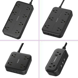 Multi Outlets Surge Protector Power Strip With 3 Usb Flat Plug Charging Ports-bk