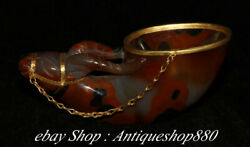 Pure Natural Agate Inlay 24 K Gold Niu Cow Cattle Beast Head Cup Wine Glass