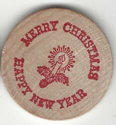 1983 Merry Christmas/happy New Year Hand Addressed On Back Wooden Nickel
