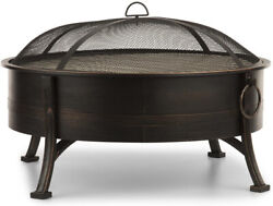 Outdoor Fire Pit Round Bowl Wood Burning Steel Metal Fireplace And Grill Antique
