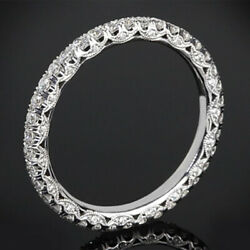 1.00 Ct Real Diamond Engagement Eternity Band 14k White Gold Size Selective