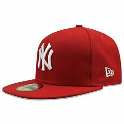 New Era Mens New York Yankees Mlb Authentic Collection 59fifty Cap, Scarlet/whit