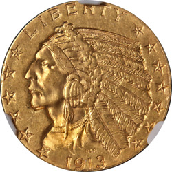 1913-s Indian Gold 5 Ngc Ms61 Key Date Great Eye Appeal Strong Strike