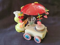 Vintage Celluloid Easter Toy Duck With Cake Wagon Wind Up Toy