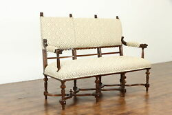 Victorian Oak Antique English Sofa, Settee, Hall Bench, Carved Lion Heads 35110