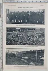 1914 Times Of India Ww1 Print Soldiers Embarking Troopships Indian Infantry