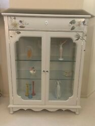 Grey Wood And Glass Display Case China Cabinets Hand Painted W/floral Transfer