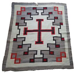 Antique Navajo Rug Authentic Rare Native American Americana Wall Hanging Beauty