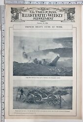 1916 Ww1 Print French Heavy Guns At Work Howitzers Champagne Country