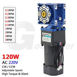 120w Ac 220v Two Stage Worm Gear Reducer Gearbox Motor Gearmotors 0.1rpm To 5rpm