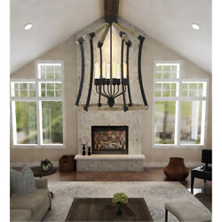 Cal Lighting And Accessories Fx-3707-8 Dali Chandelier Iron And Light Oak