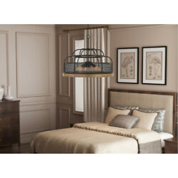 Cal Lighting And Accessories Fx-3706-6 Akaki Chandelier Iron And Light Oak