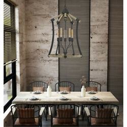 Cal Lighting And Accessories Fx-3707-5 Dali Chandelier Iron And Light Oak