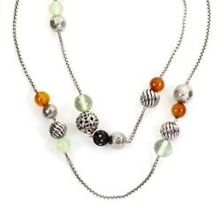 David Yurman Elements 925 Silver And Gems Beaded Chain Necklace Paper 41long