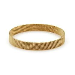 And Co. Somerset 18k Yellow Gold 9mm Wide Mesh Bangle Bracelet