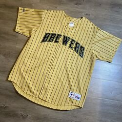 Vintage Milwaukee Brewers Mlb Majestic Gold Pinstripe 90's 1990's Jersey Xl