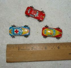 3 Vintage Taxi Cab, Ambulance, Fire Dept Tin Litho Toy Car Made In Japan Lot