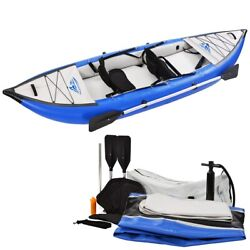 Inflatable Fishing Rowing Boat Raft Canoe Kayak Set With Paddle And Air Pump