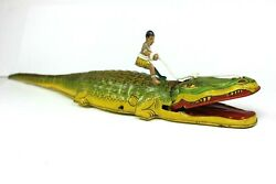 Vintage 1930's J. Chein And Co. Alligator W/ Native On Its Back - Tin Windup Toy
