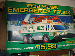 Huge 6'2 X 4' Vintage 1996 Hess Toy Truck Sign Rare And Highly Collectable