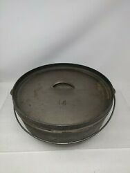 Lodge 14co Cast Iron Shallow Camp Dutch Oven Discontinued No.14 Made In Usa