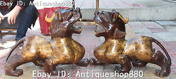 23 China Bronze Gilt Pixiu Phylactery Guardian Beast Brave Troops Statue Pair